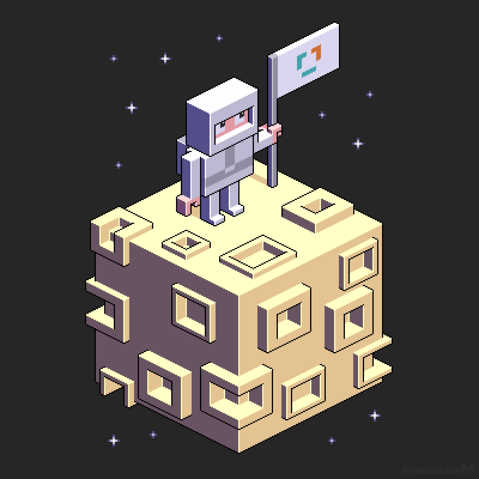 Isometric pixel illustration of an astronaut on a moon, for an EclecticIQ sticker series