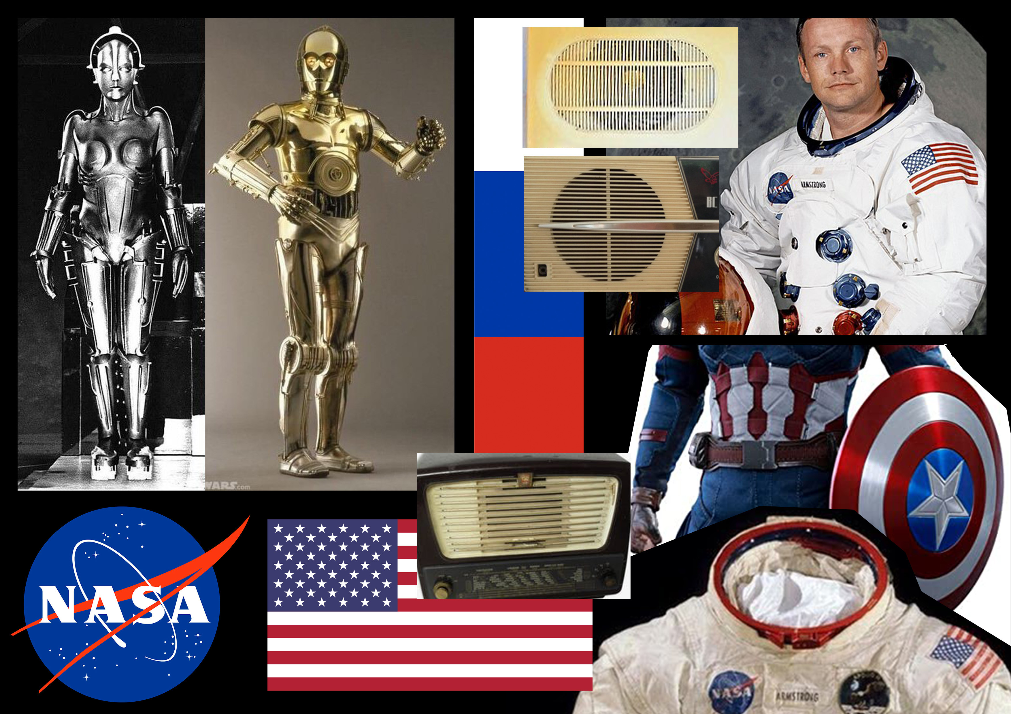 moodboard - first I did a collection of designs I wanted to avoid(marvel, metropolis and c3po) for the small details I collected images of old radios from the 60s USA and CCCP.