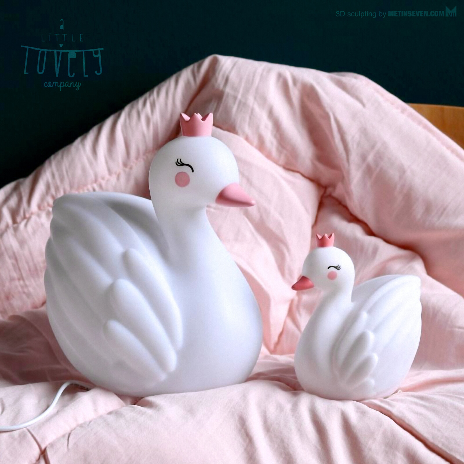 3D sculpting of swan lights for A Little Lovely Company
