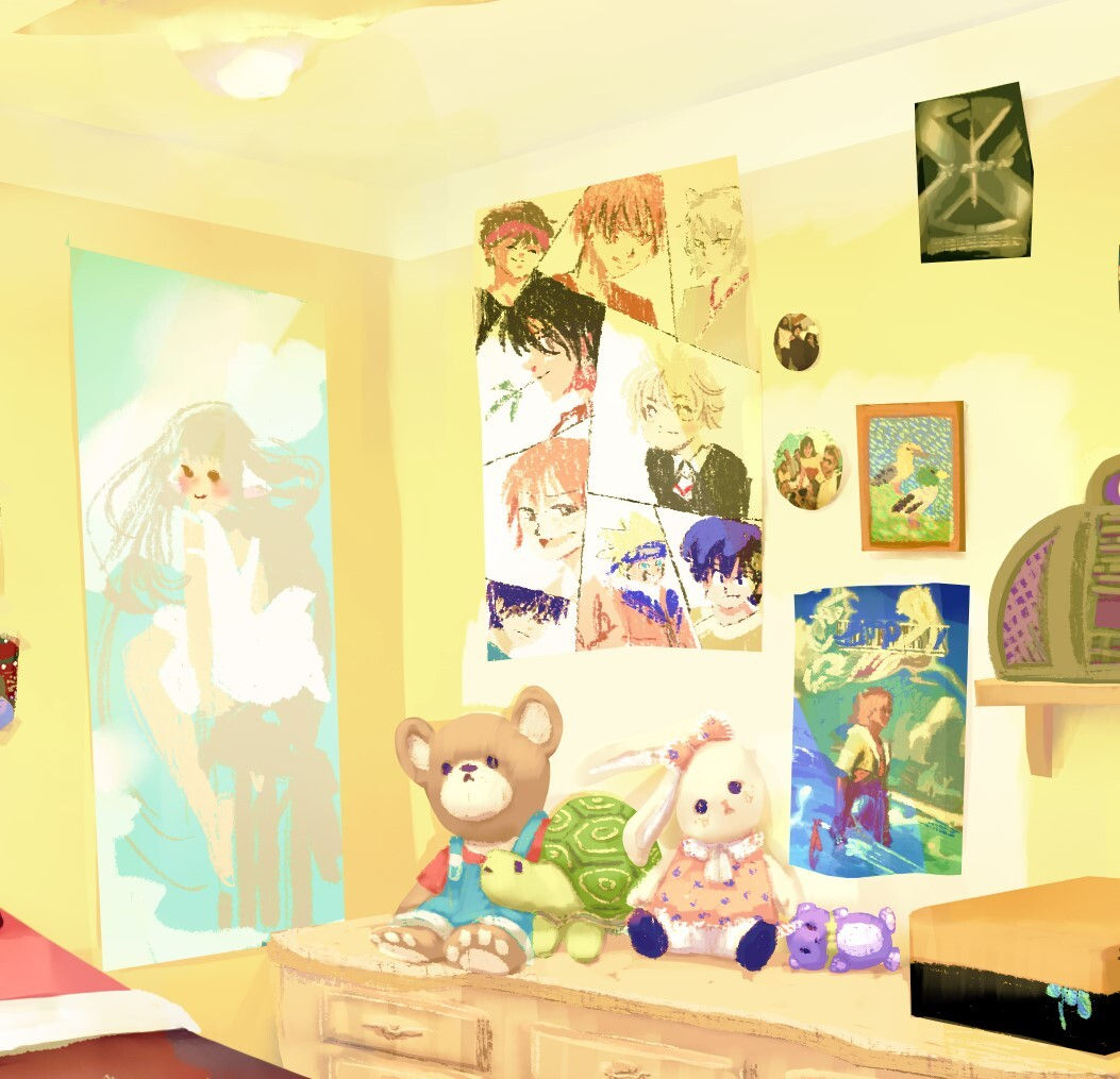 Posters and plushies detail