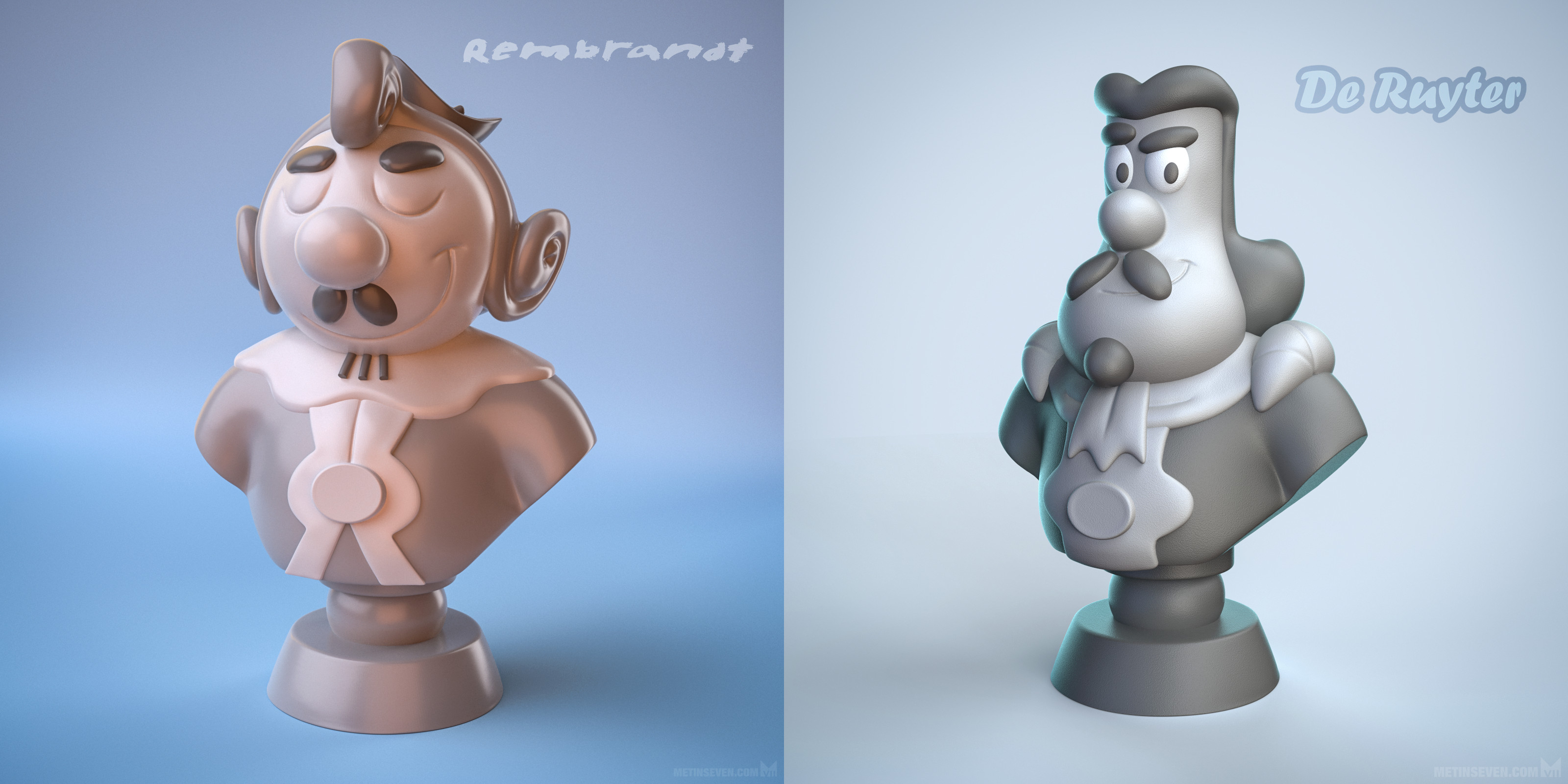 3D-printed bust statues of comic characters based on the painter Rembrandt and admiral De Ruyter