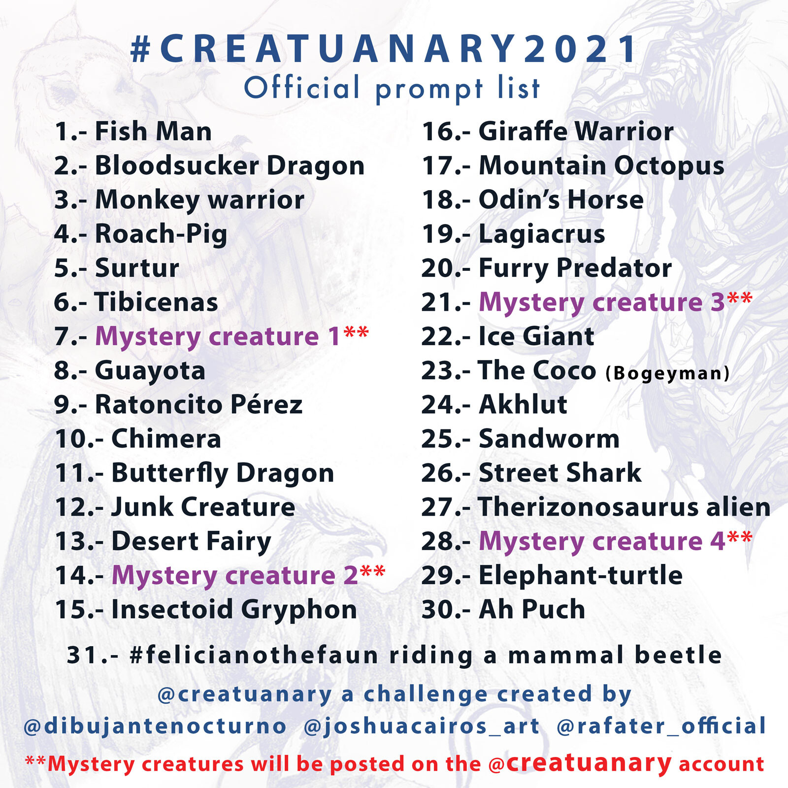 CREATUANARY 2021 - Official prompt list
