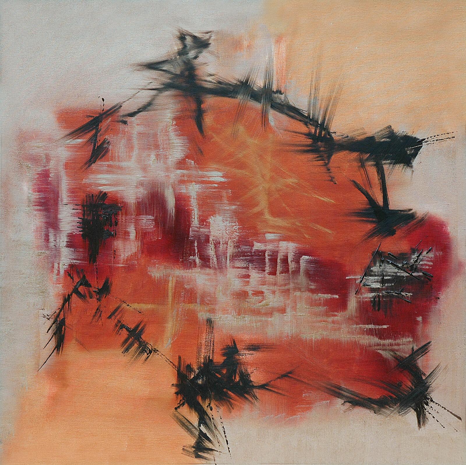 Volo di Corvi II 90 x 90 oil marble powder on canvas