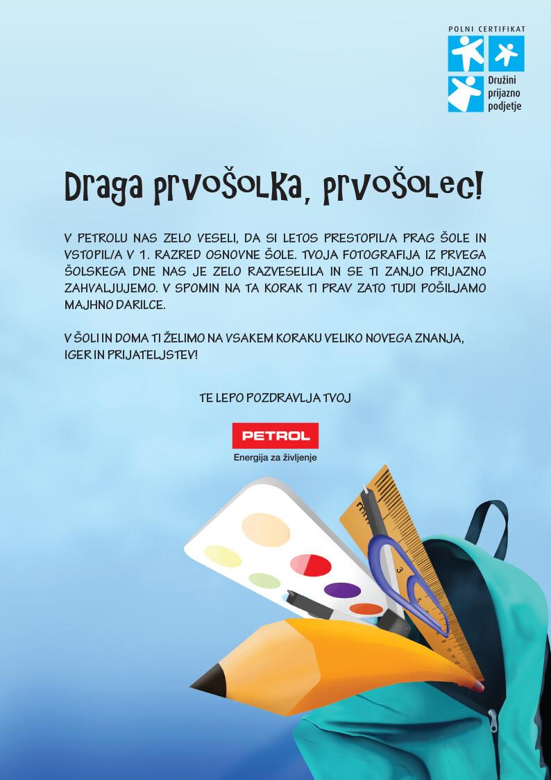 Ilustracija šolskih potrebščin ter oblikovanje dopisa za prvošolčke.