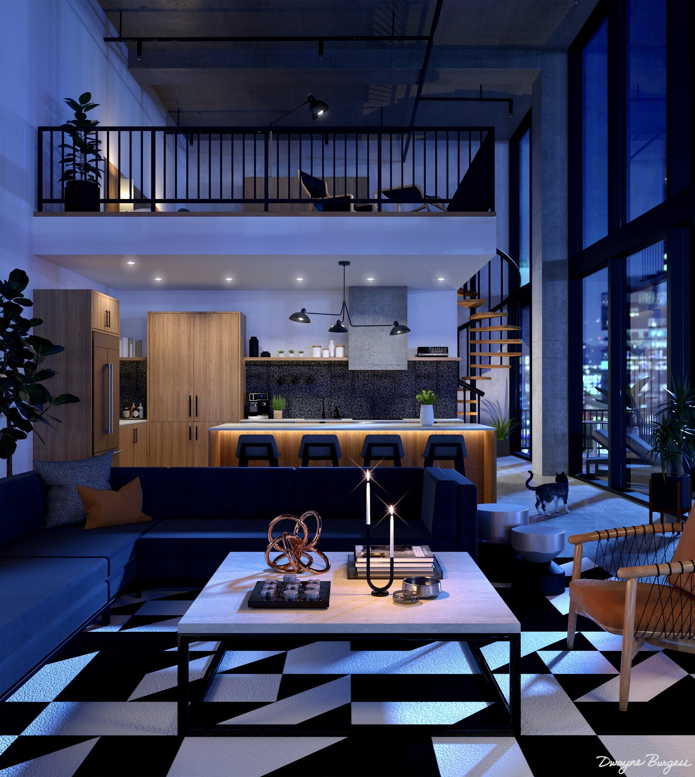 Downtown Loft at Night