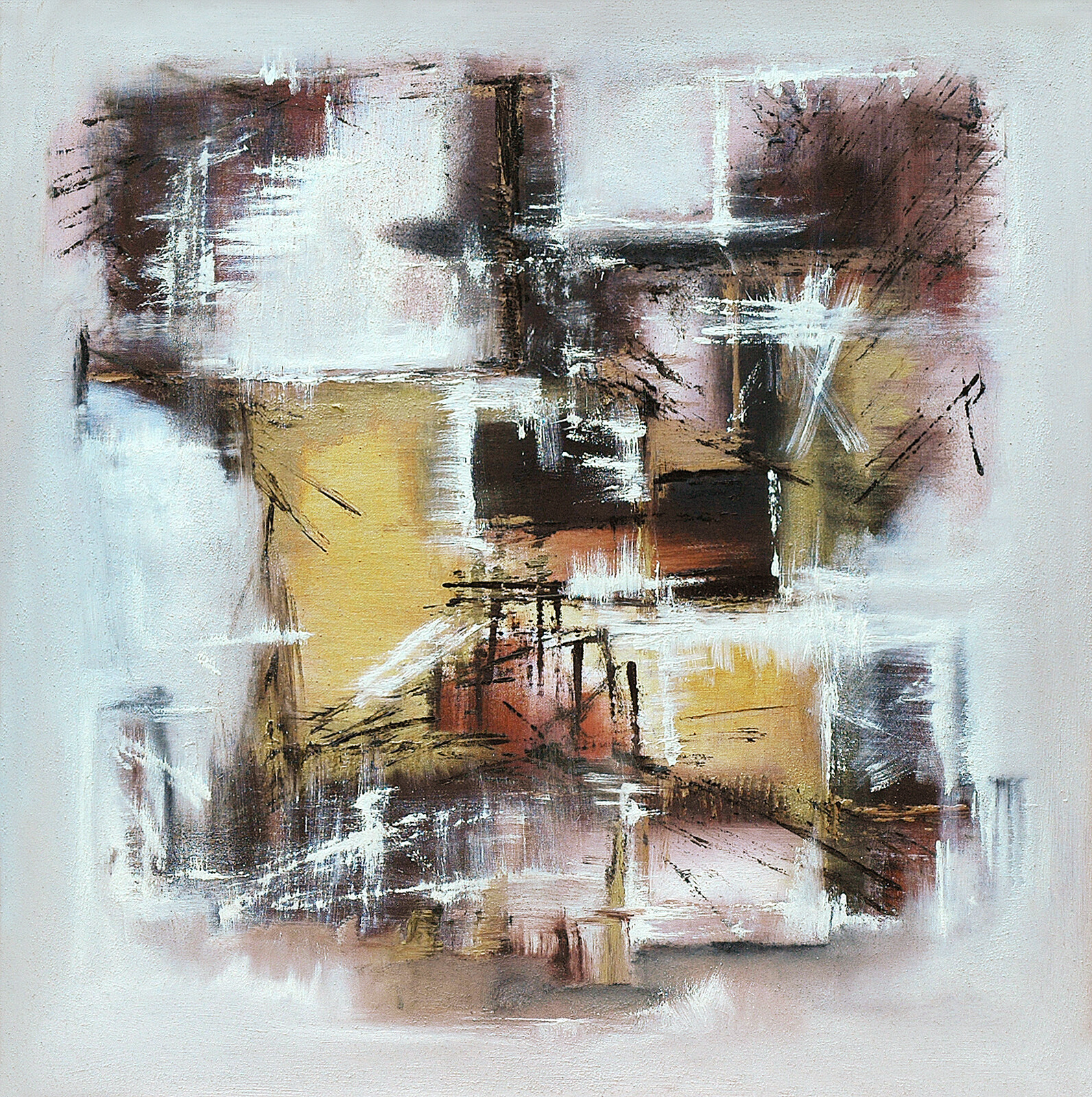 Entropia 90 x90 oil marble powder on canvas