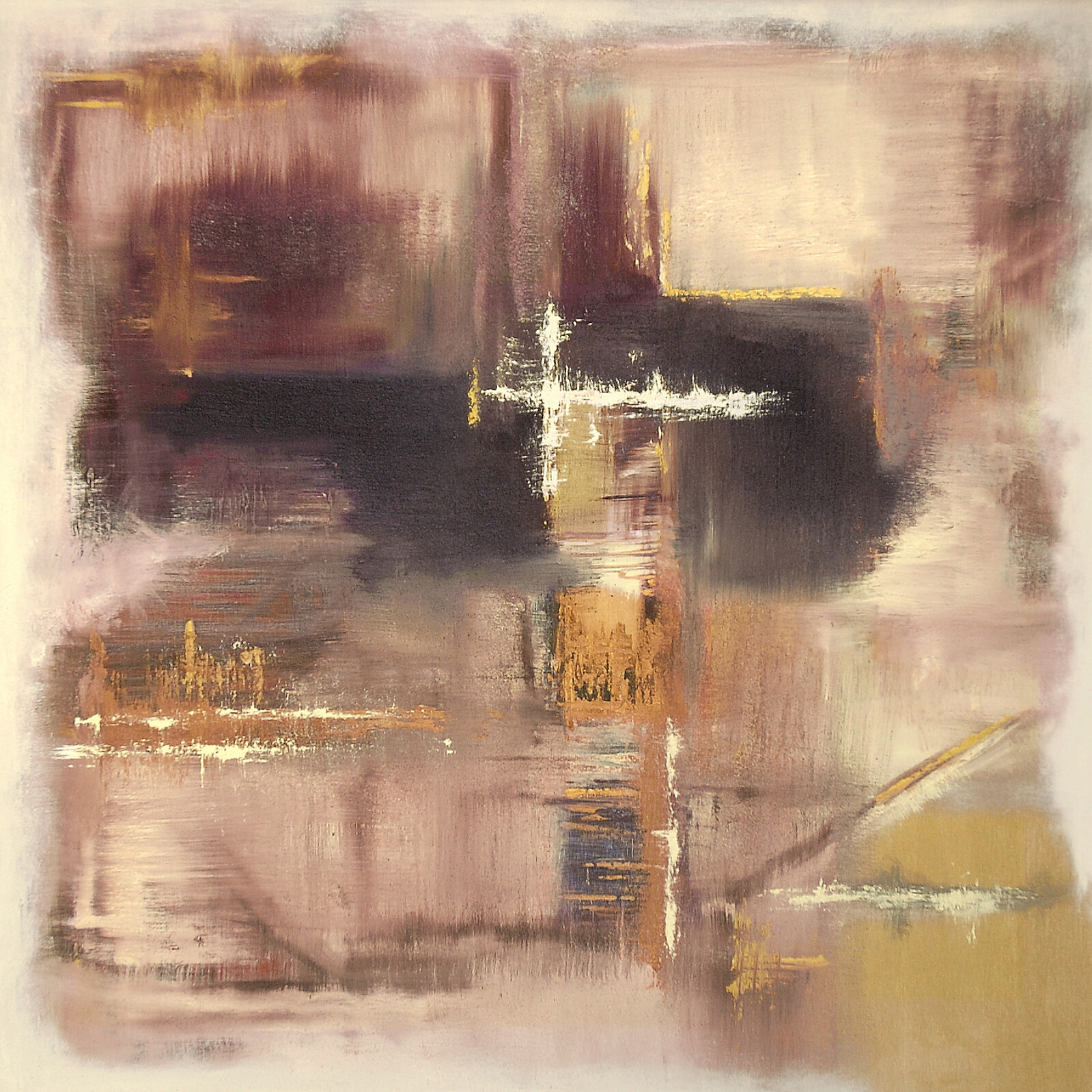 Entropia II 90 x 90 oil acrylic marble powder on canvas