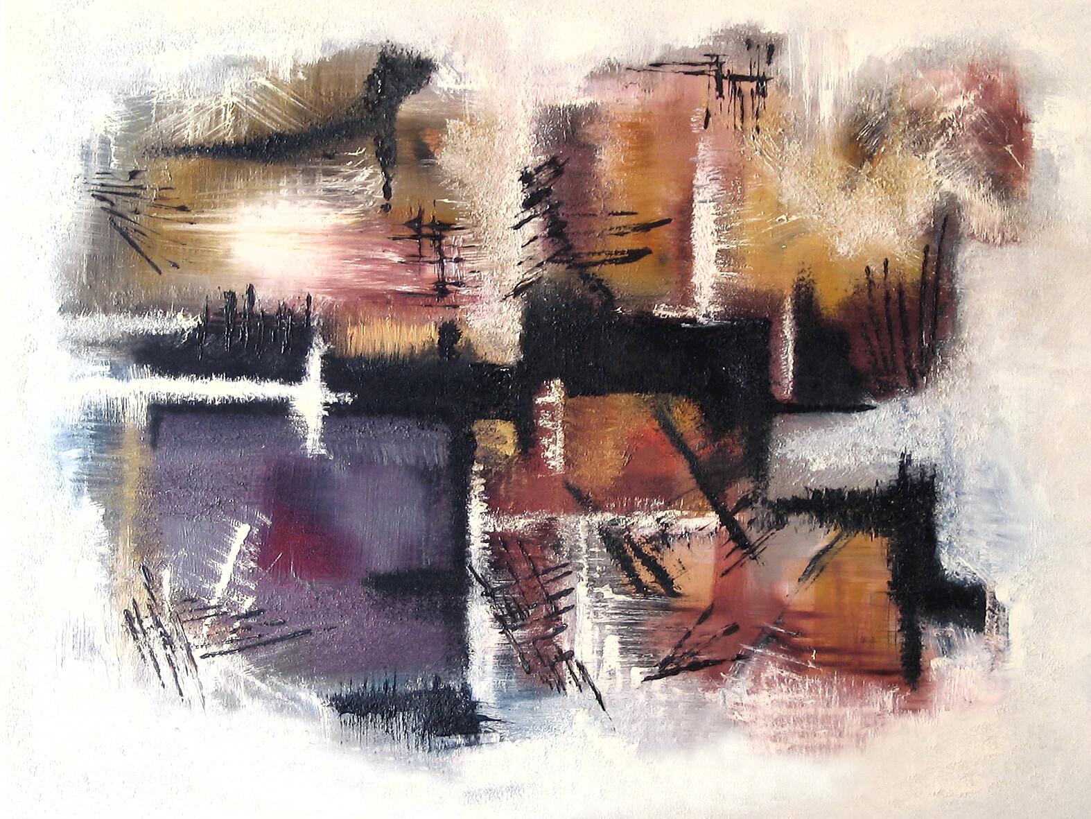 Treni di Tozeur 100 x 120 oil acrylic marble powder on canvas