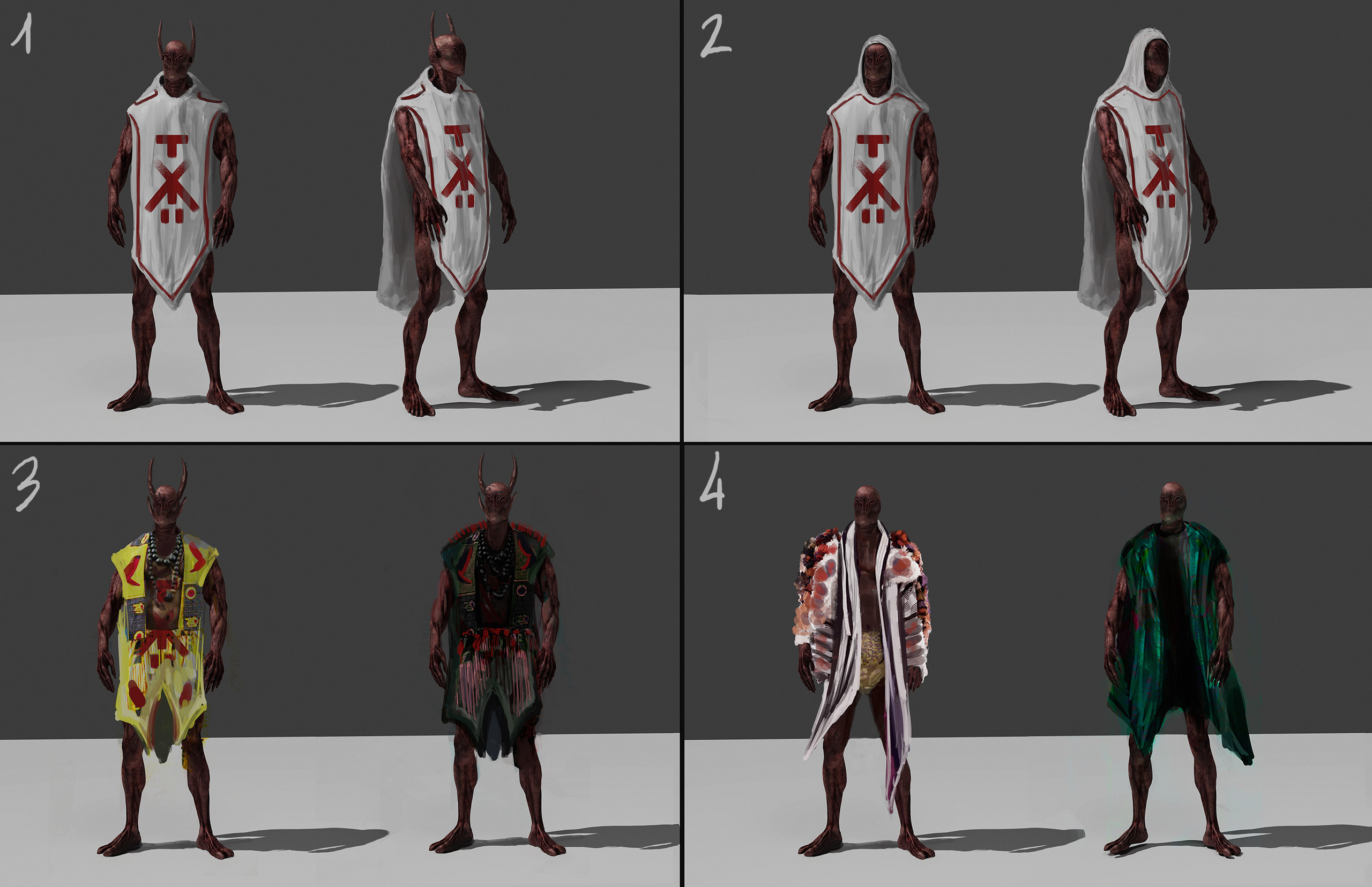Shaman: trying to find a good outfit for the shaman (previous concept).   3/4: colorful versions just for fun.