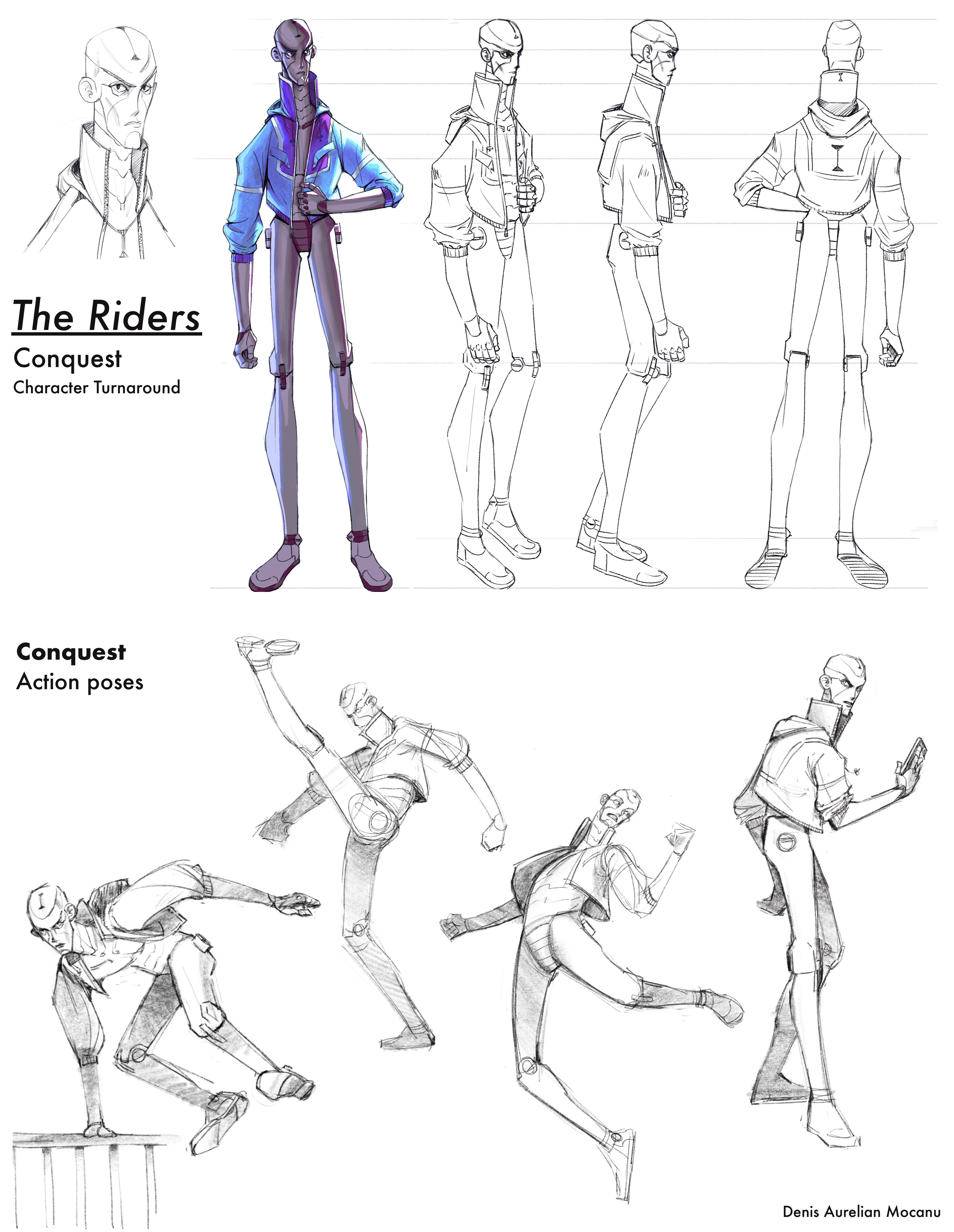 Main Pose colored + action poses