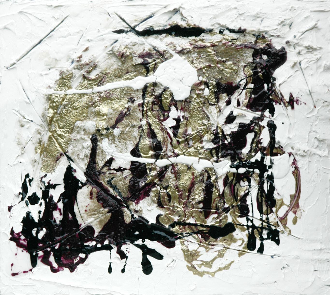 Sottopelle #3 25 x 25 trittico varnish plaster sand on wood