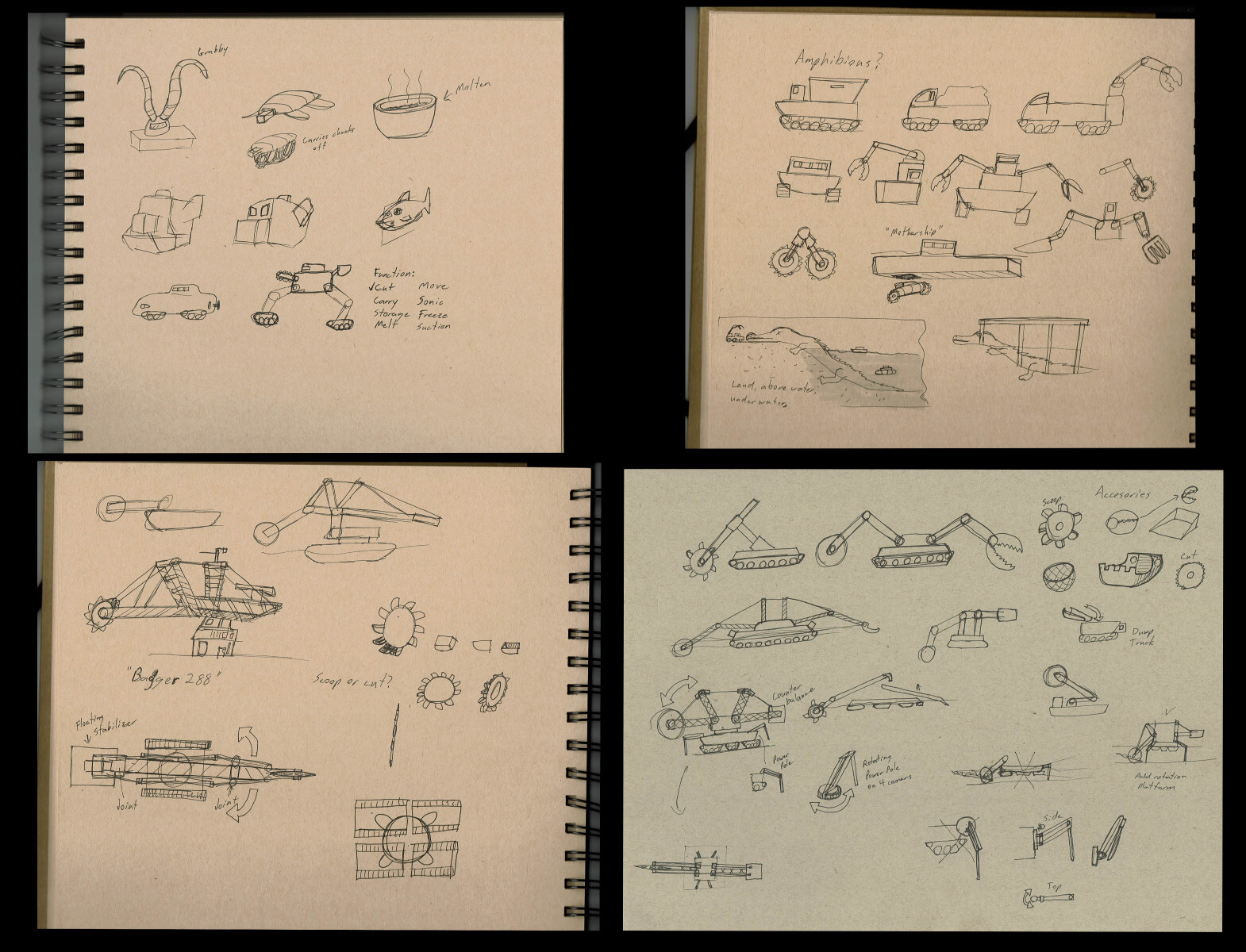 Some early brainstorming and iteration sketches