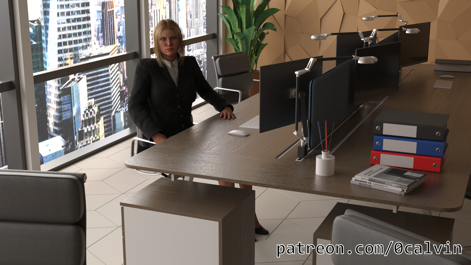 Miss Management in her Office