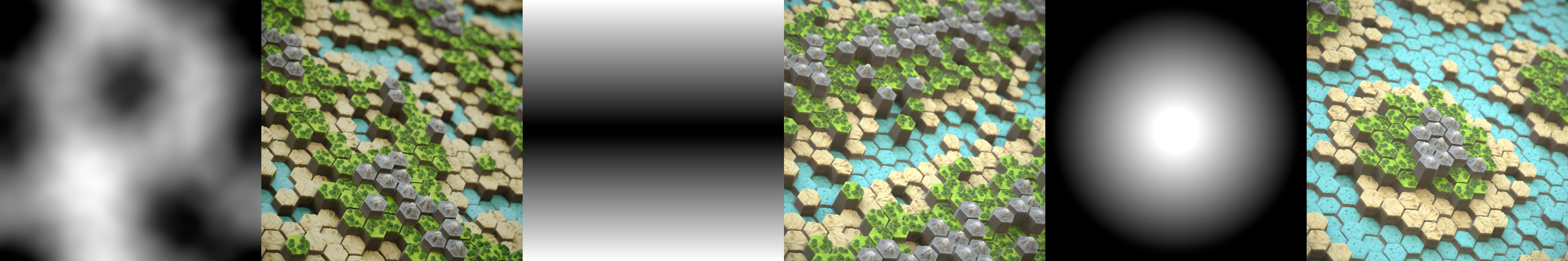 The biome Substance graph takes an arbitrary black and white input and converts it into a material. There are additional noises to break the shapes and create more interesting results.