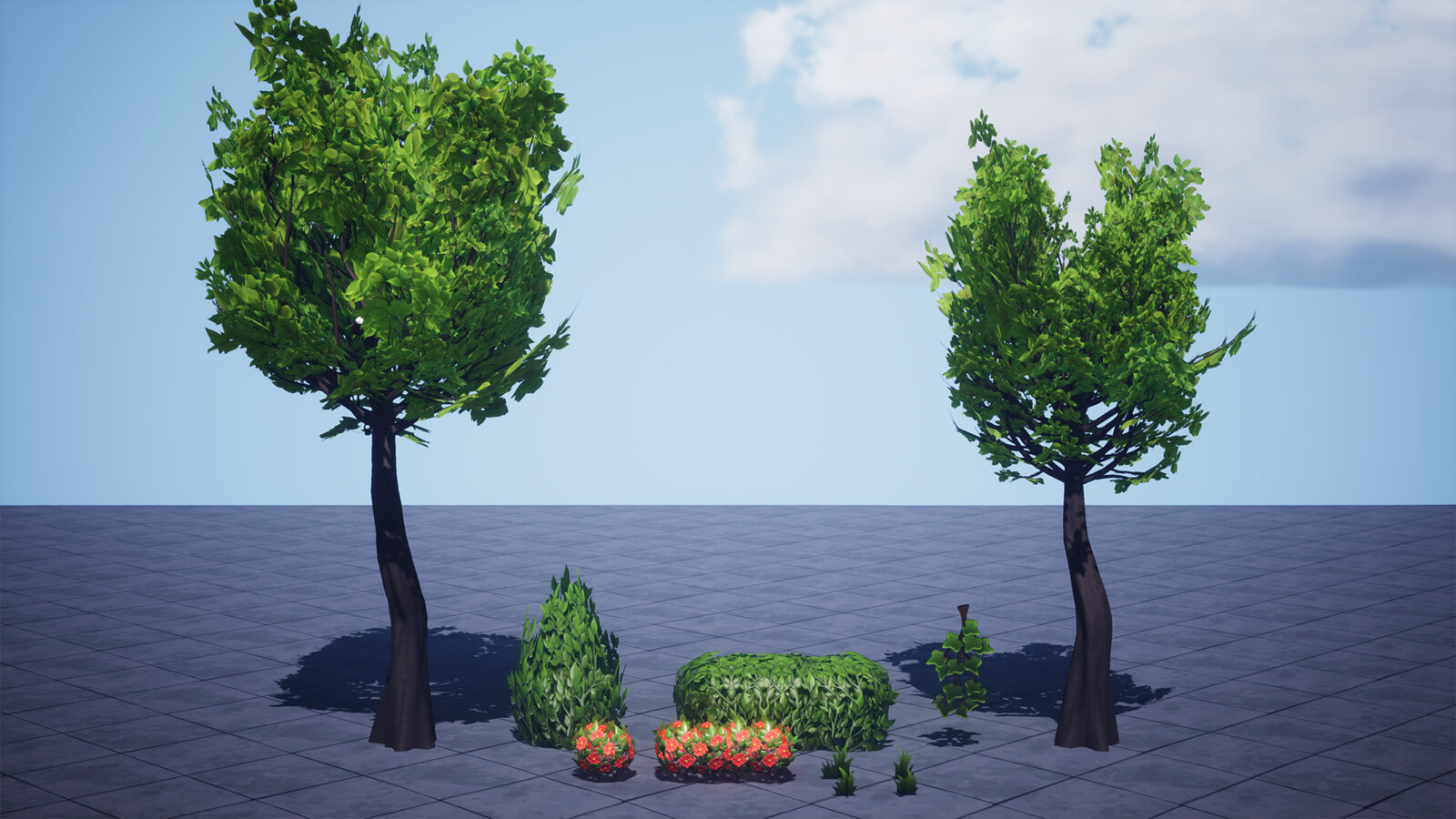 Vegetation for the scenes. Trees created in speed tree with custom textures. Used sculpts for ivy, hedges and flowers.