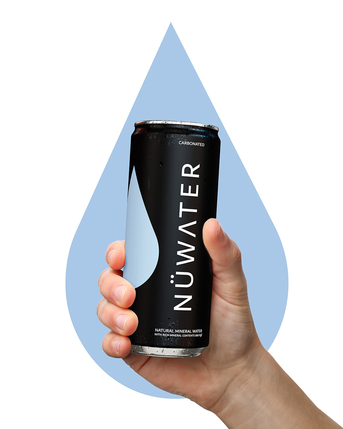 Holding One NuWater can on background