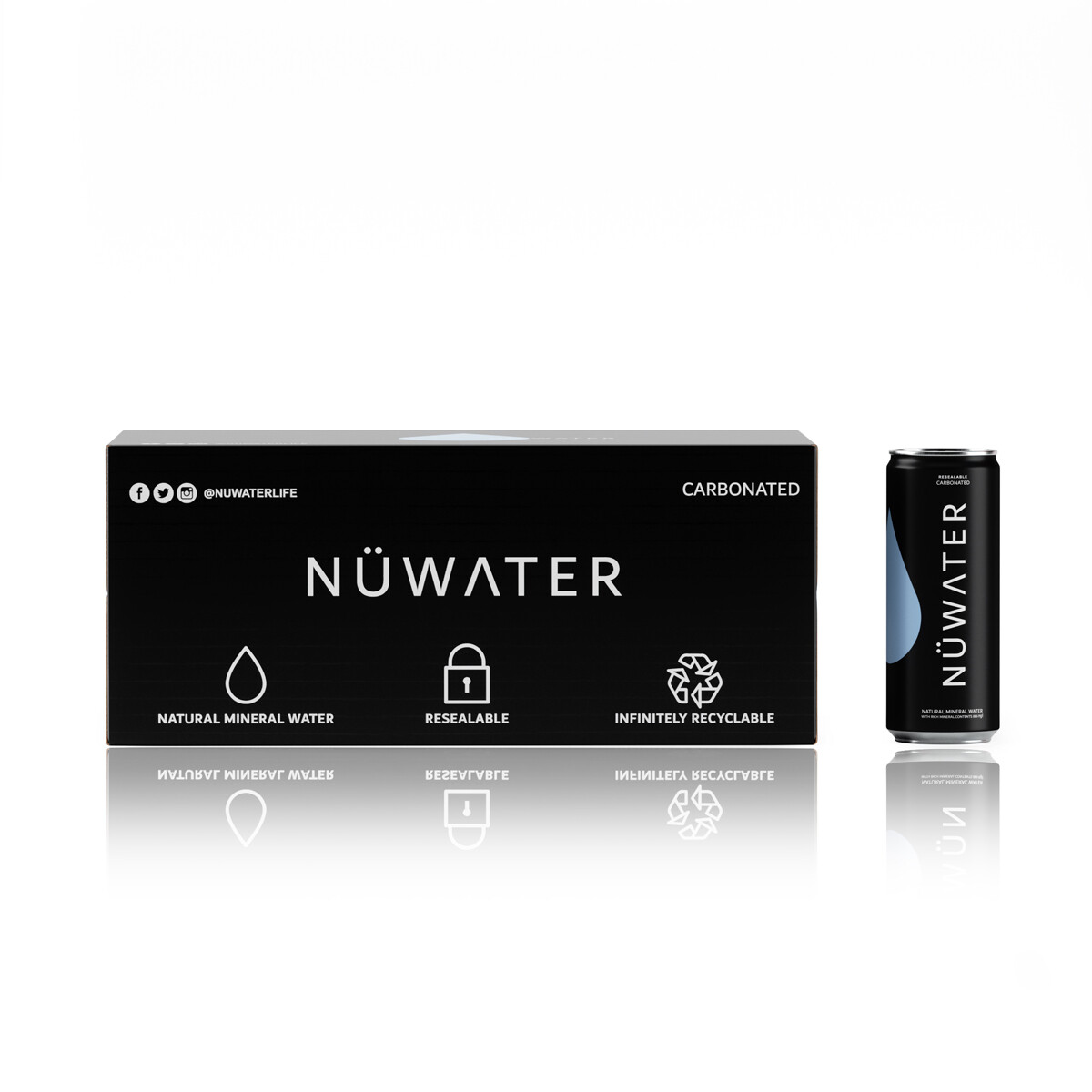NuWater Resealable Can and Box Pack