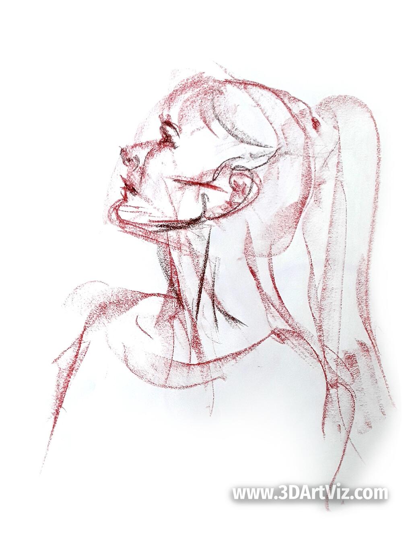Draw chalk sketch. 3min. Berlin, 2019.