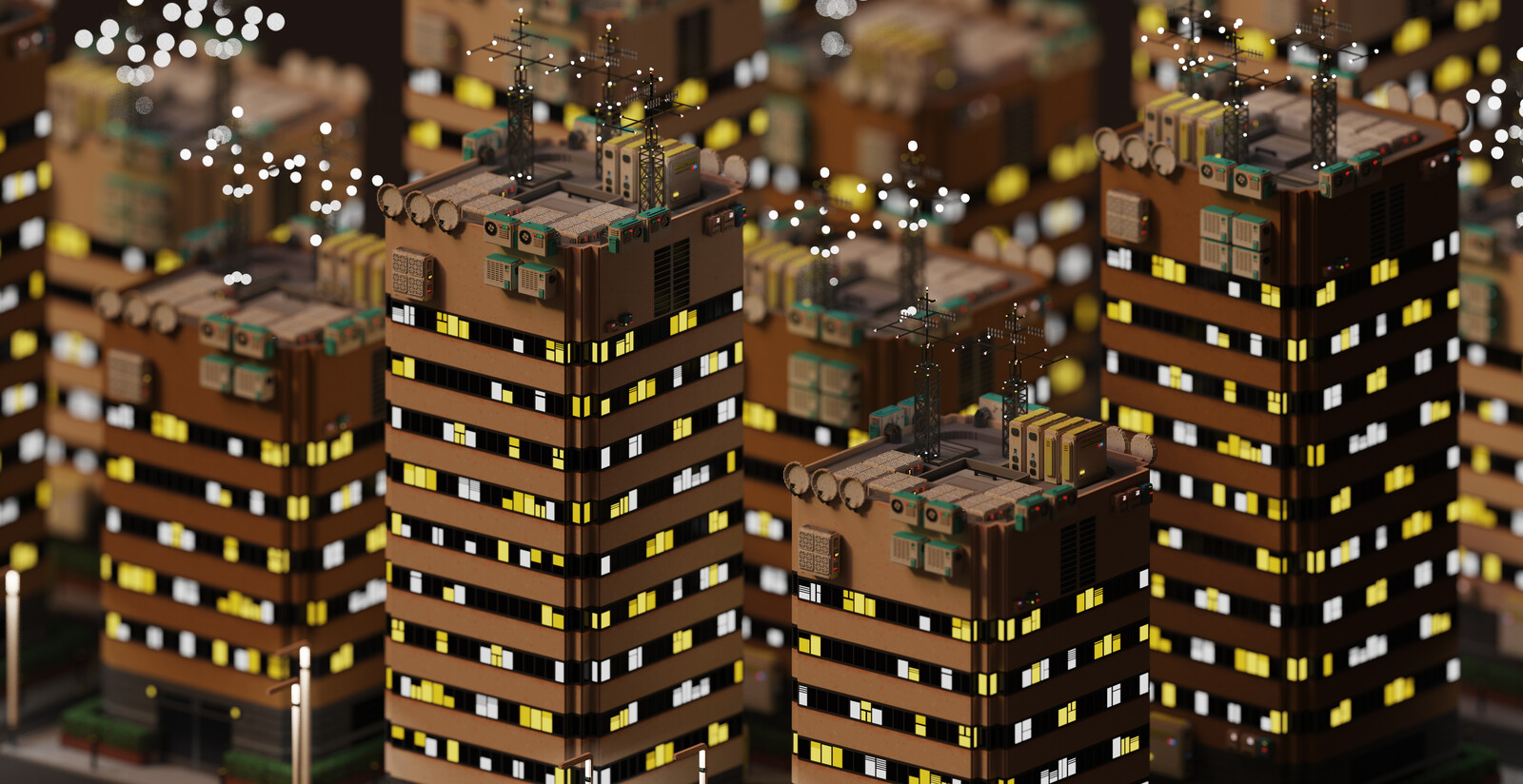 Voxel Game Project - Skyscraper n°1 - Night