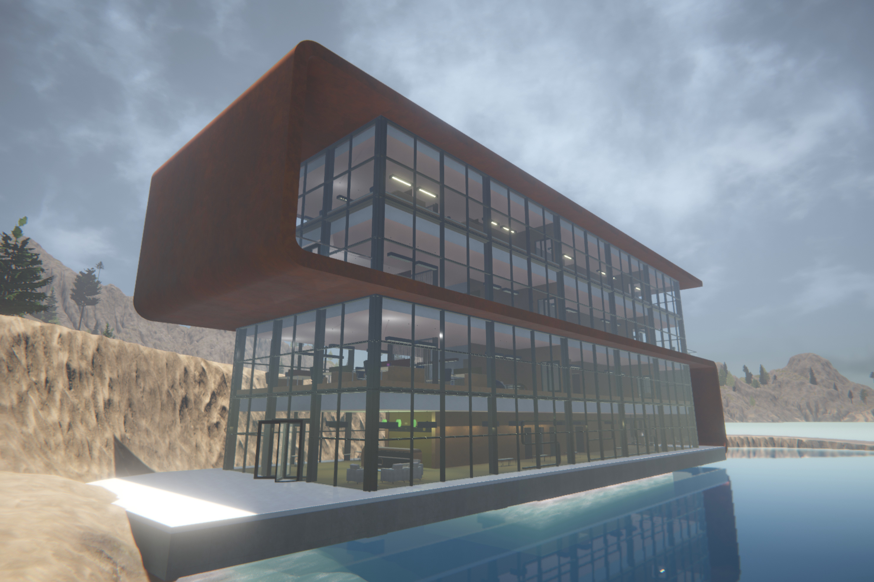 This is a Graphisoft example European office building, pulled into Unity from ArchiCAD via Modo - a test for dealing with large numbers of entities - furnishings, doors, partitions etc. Looks *great* clad in Corten steel - thanks to Substance in Unity!