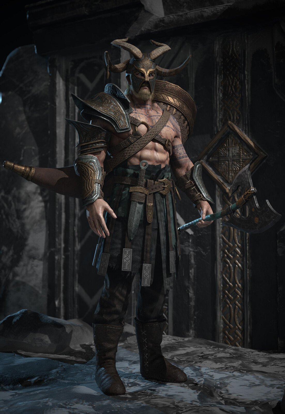 As the youngest son of Odin and holder of the mythic Gjallarhorn, Heimdallr was gifted with powerful eyes that can see beyond his own realm. He acts as a guardian for Asgard, a watcher of all realms and he waits for the day he must announce the Ragnarok.
