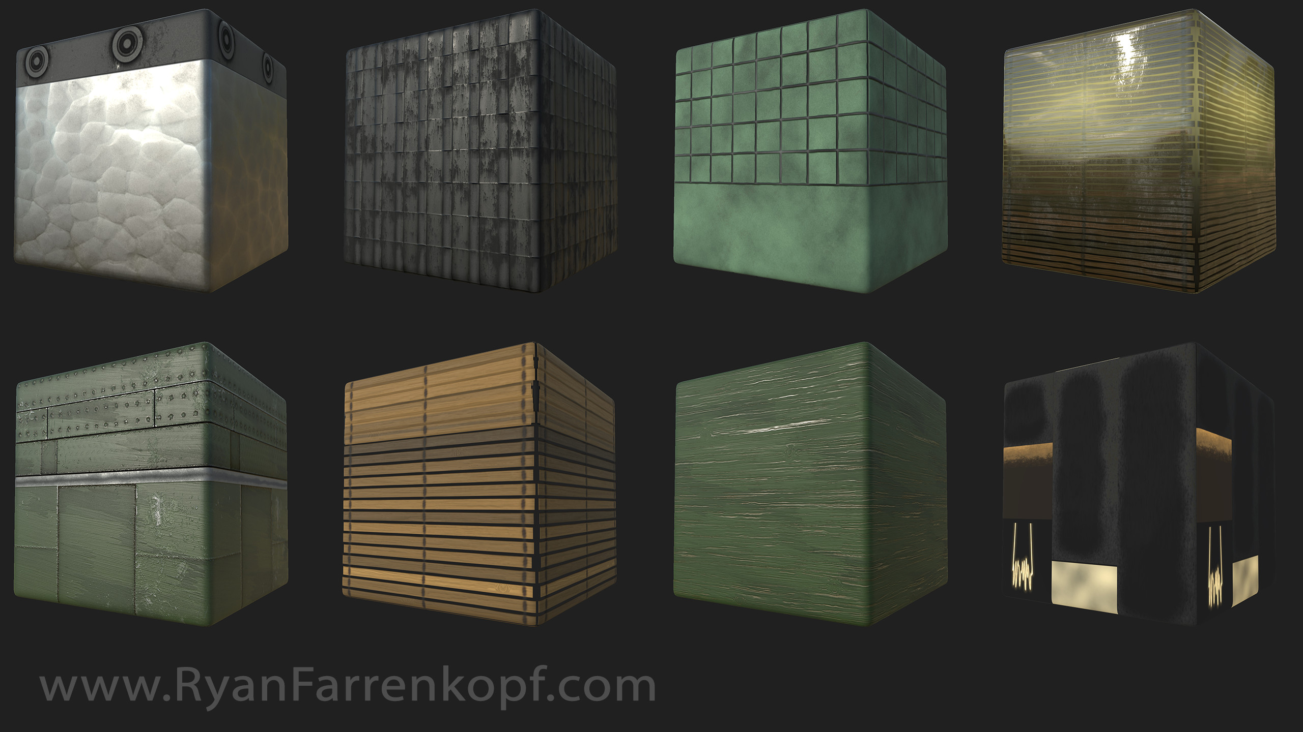 Material trimsheets used for the house. Created instances in Unity to create variety.