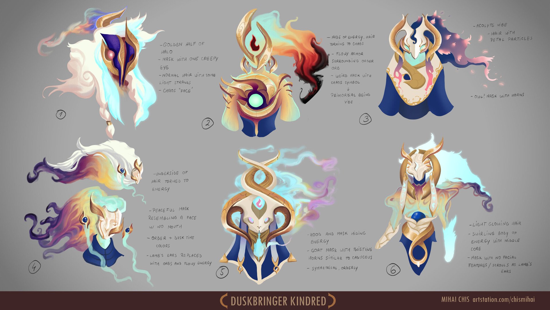 Different attempts at order lamb. My goal after finishing these was trying to make a design that felt like primordial order, a godly being that got split into two and still had remnants of chaos. Calming, symmetrical, mysterious, uncanny.