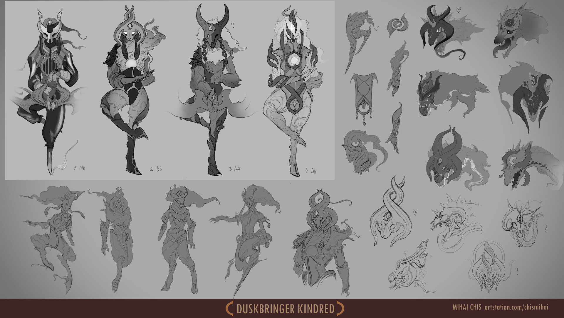 My final 4 designs for Lamb and more sketches I had done along the design process. As for wolf, I adored the idea of making order an armoured horse with reins and chaos with broken chains, unleashed.