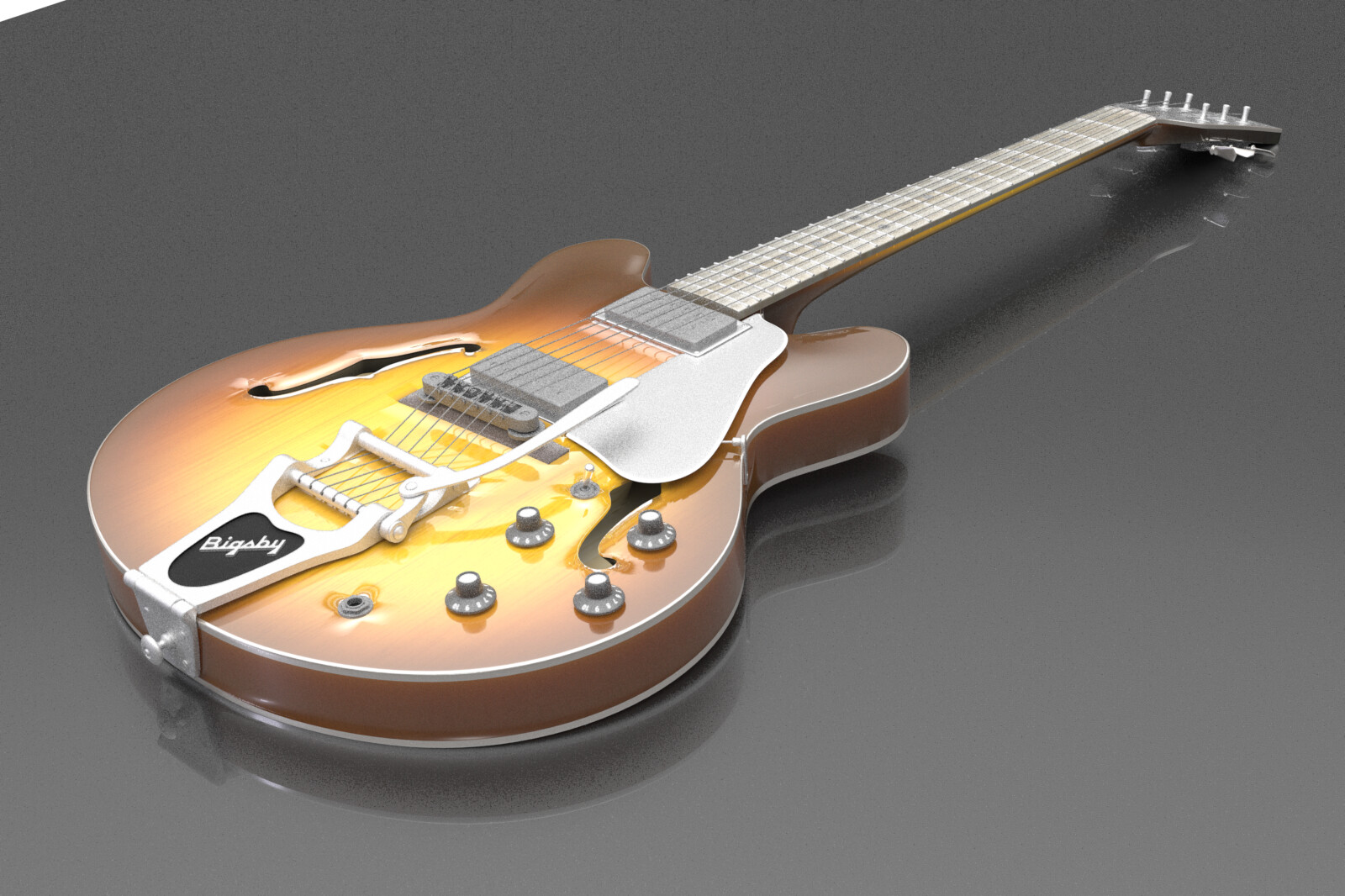 Arch-top jazz guitar modeled in Modo - this is an in-modo render. I converted this model to a native ArchiCAD object, with appropriate vectorial cleanups and the ability for the materials to be easily tweaked in use.