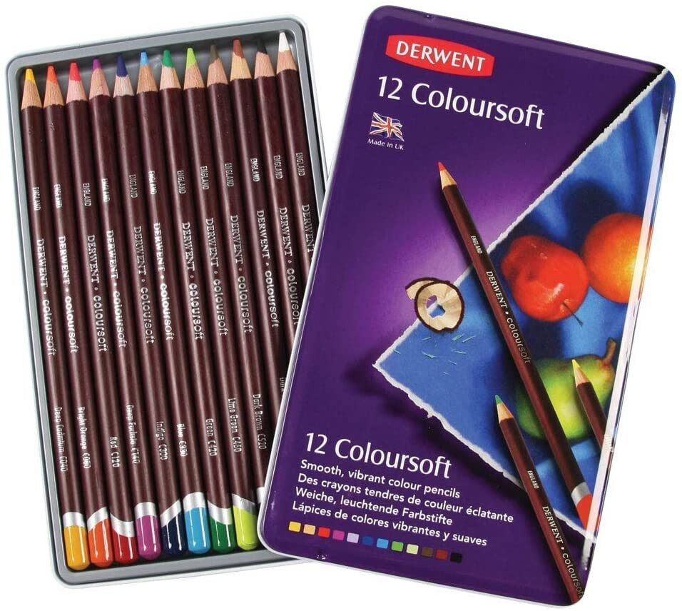 Use softcore coloured pencils. they are better for quick, single stroke application.