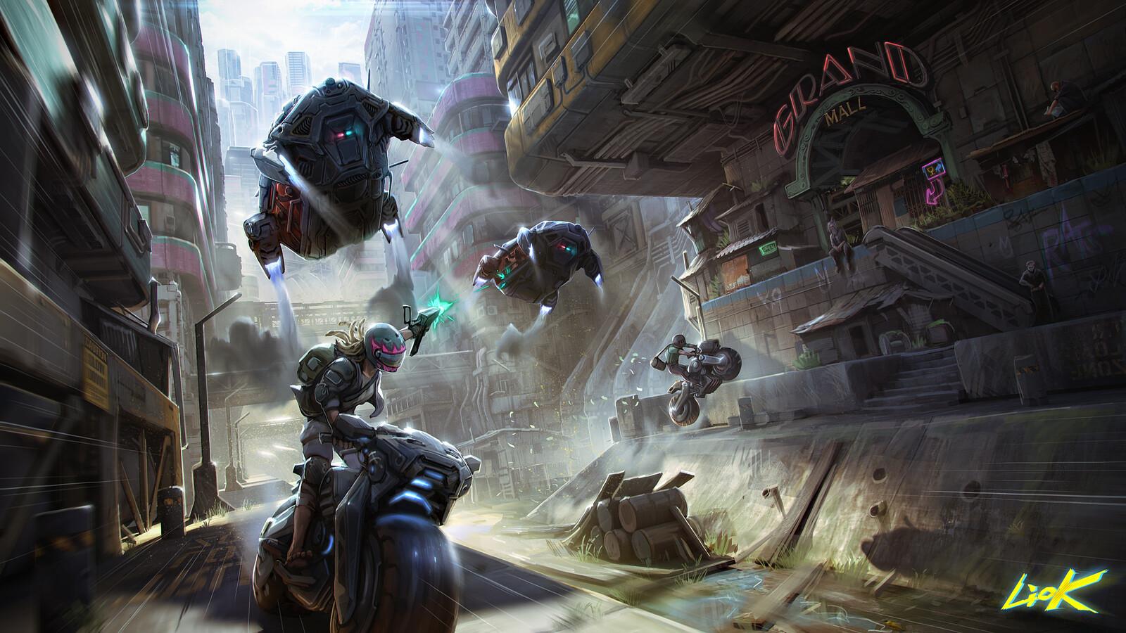 Heist chase, Cyberpunk 2077 challenge on digital painitng school.