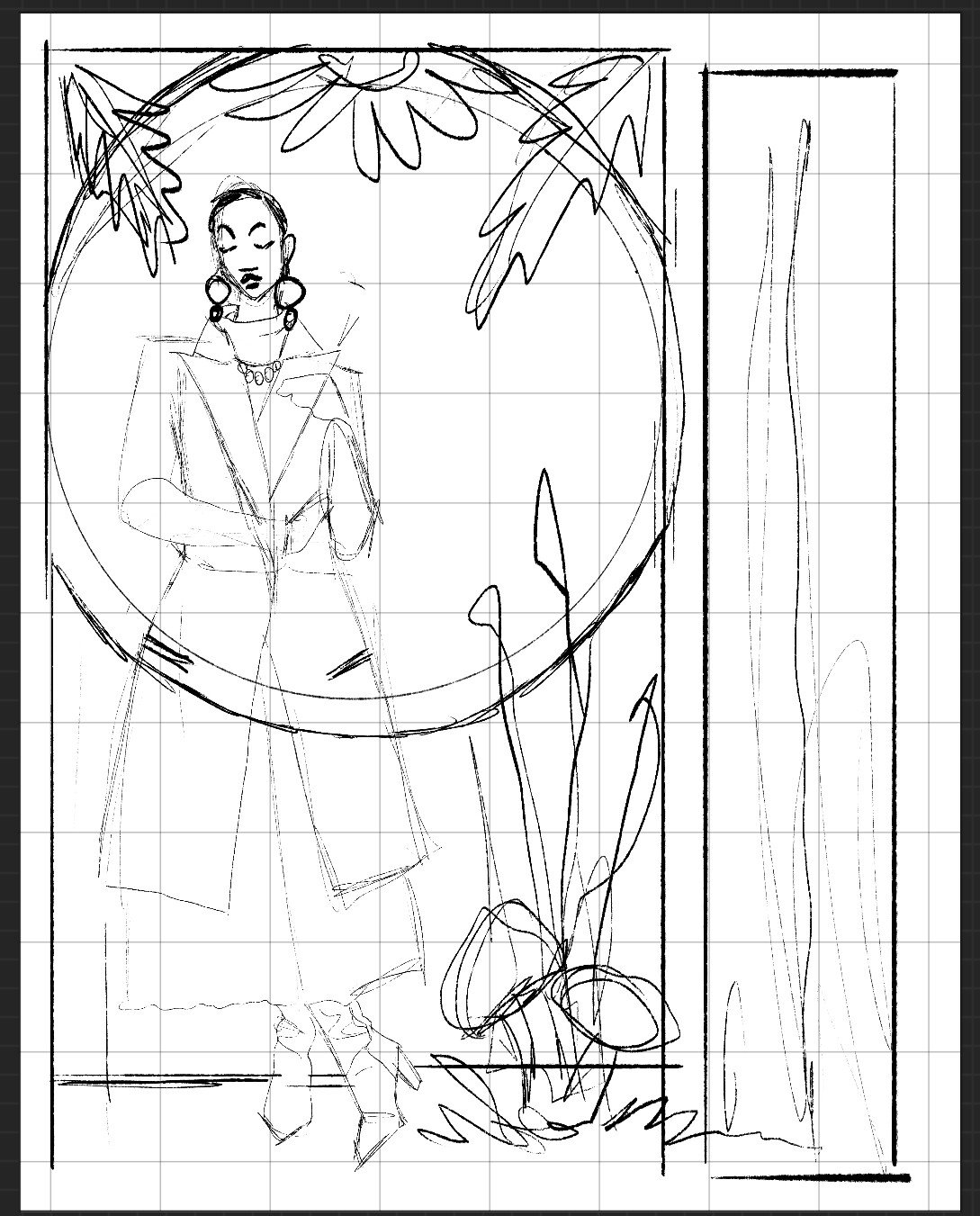 A closer look at a slightly more refined concept sketch for thumbnail 8.