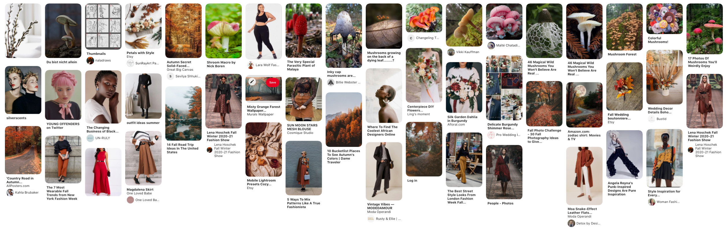 My Pinterest mood board for this project!