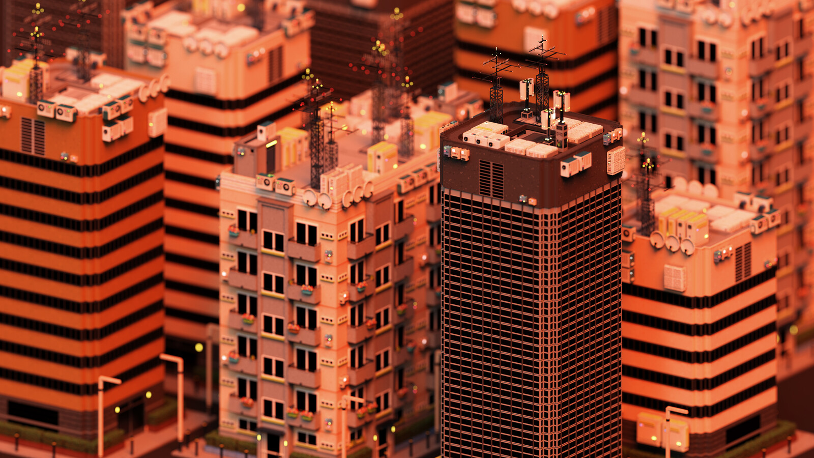 Voxel Game Project - Skyscraper n°3 - Dusk