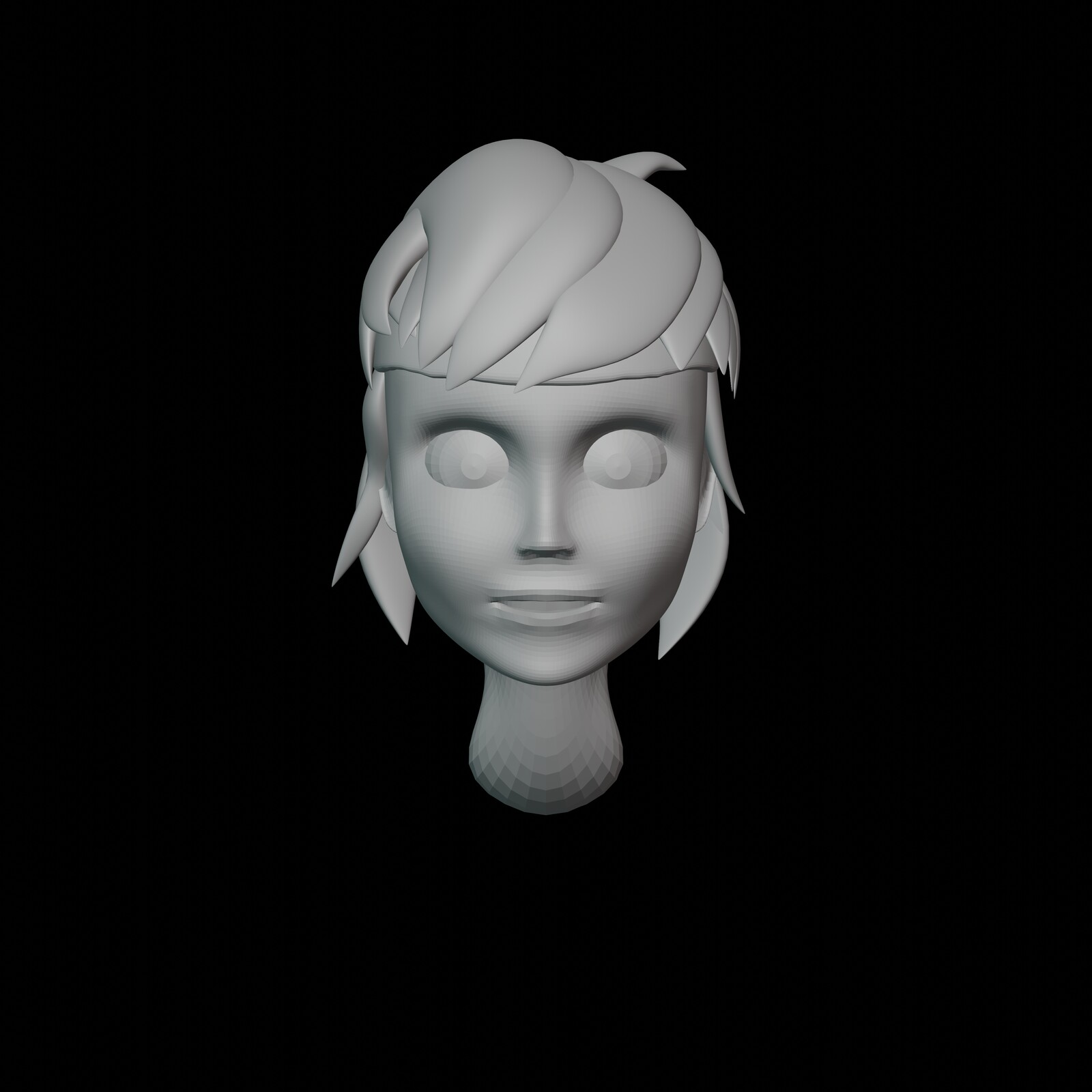 Iteration #3: I modified the hair groups again, to match some reference I was using. At this point I was slowly realizing that this placeholder hair was also going to be the hair that I would be using in the final render.