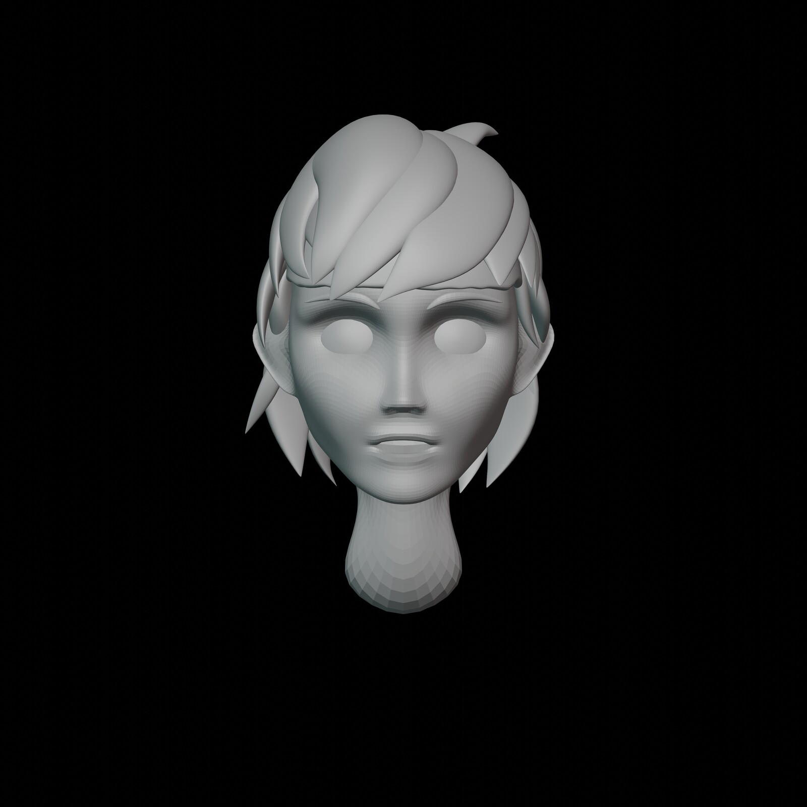 Iteration #5: Again, some slight tweaking in the cheeks, I made it slightly slimmer again. Other than that, I made the facial expression look a bit more natural and changed the shape of the eye