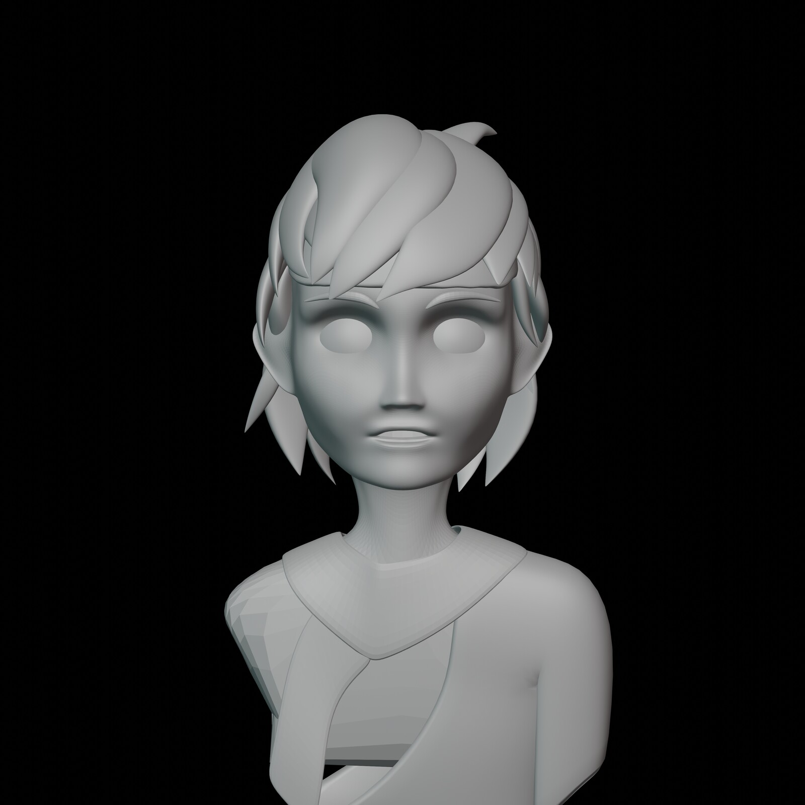 Iteration #6: Some more minor tweaks to the width of the upper-part of the head. I also made the head a little less tall to match the reference further. I also added a part of the chest.