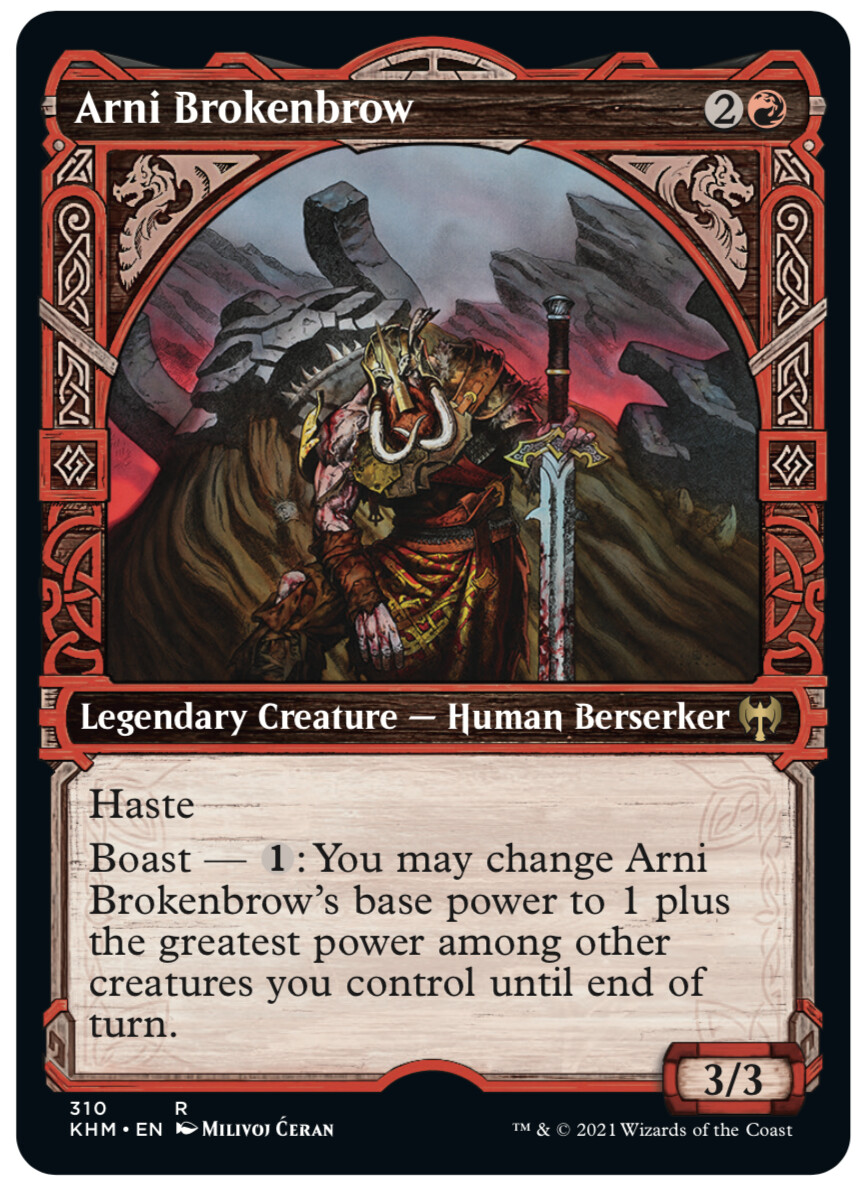 "- ""Arni Brokenbrow"",released Legendary Creature showcase card - © Wizards of the Coast - AD Tom Jenkot - Magic the Gathering, ""Kaldheim"", release Feb 2021"
