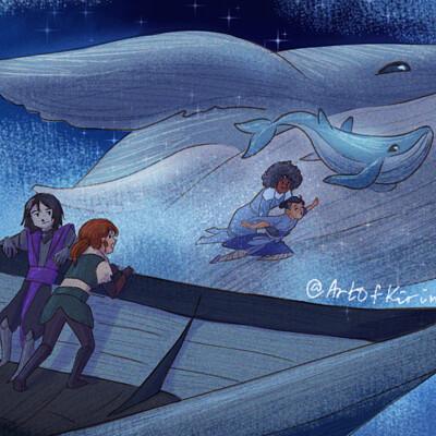 Kirin art sky whales2