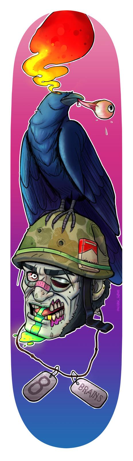 Bigass Crow on zombie's head