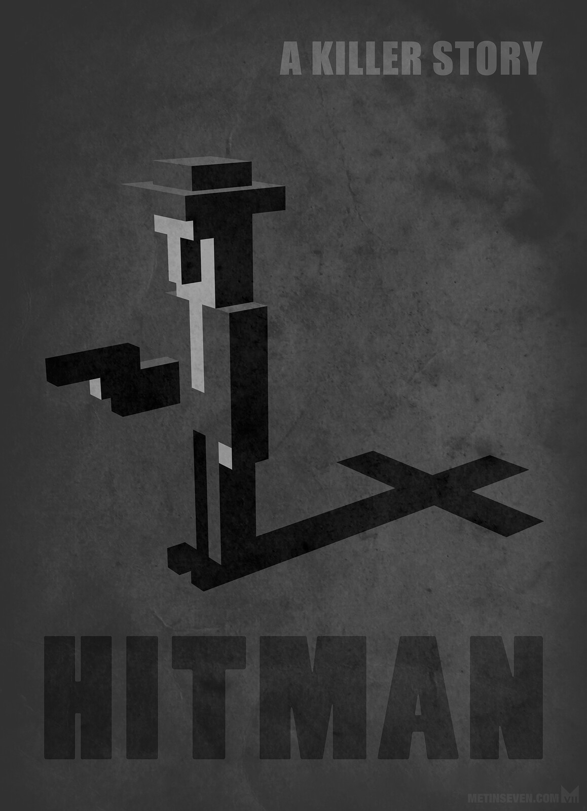 Hitman voxel-style poster design