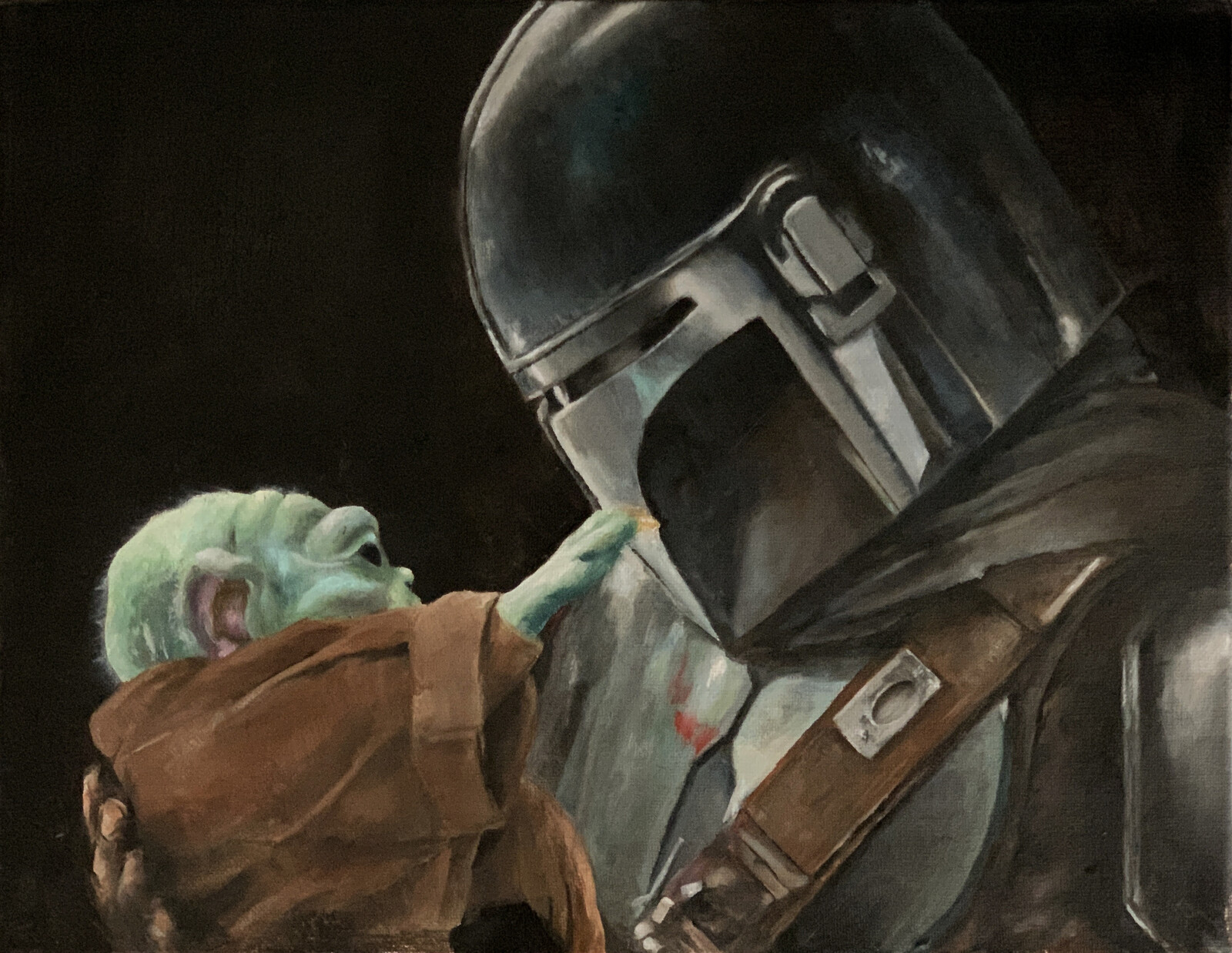 Mando and Grogu, Oil, 2021