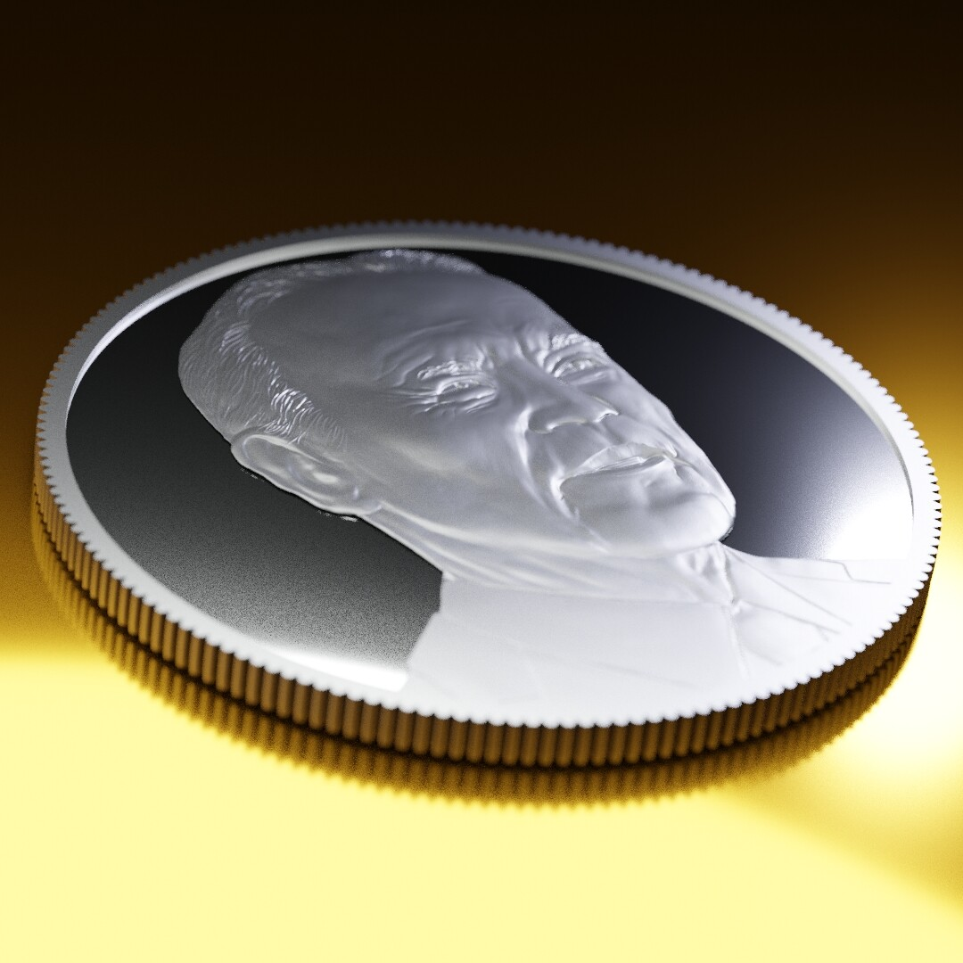 Completed Biden sculpt for 'Heads or Tails Coin Co.'  Rendered in Cycles.
