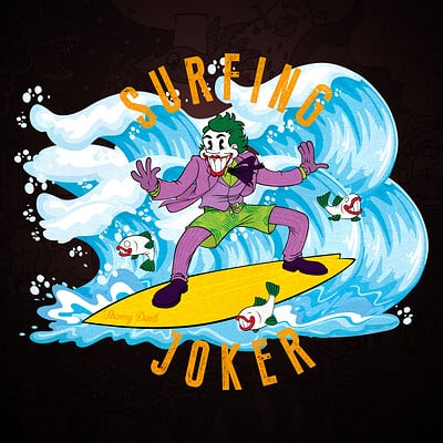 Thorny devil surfing joker print