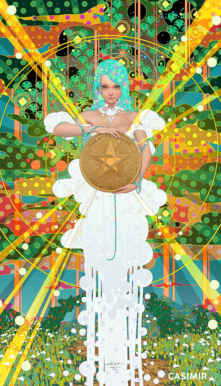 CASIMIR ART Minor Arcana 塔羅小秘儀 ACE of PENTACLES / 錢幣一  #ArtCASIMIR #CASIMIR #CASIMIRArt #female #drawing #fineart #painting #limitedprint #arterotica #eroticart #塔羅牌 #塔羅 #Tarot #tarot_card #tarot_cards