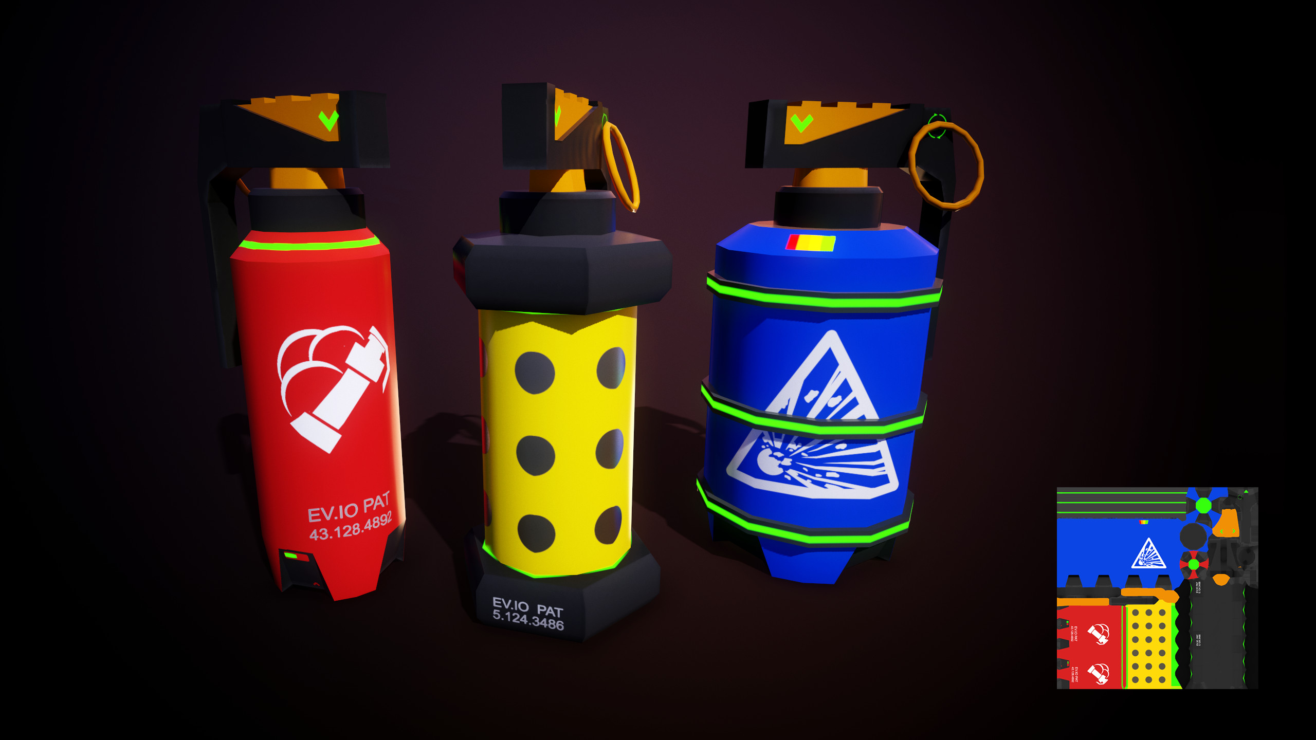The 3 grenade types available in the game Smoke, Flash, and Fragmentation. All three were created with a single shared 512 basecolor texture.