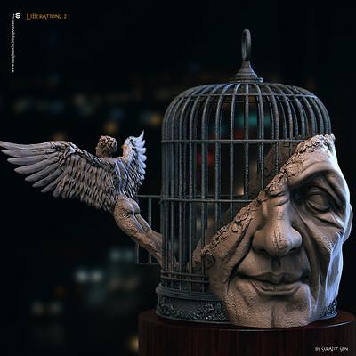 Surajit sen liberation2 2 digital sculpture surajitsen jan2021sa l