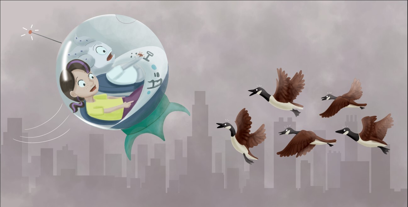 """They zoomed to the city but Amos couldn't see the skyscrapers. He couldn't see the clouds. He couldn't see the flock of birds flying in front of the spaceship.  """"WATCHOUT!"""""""
