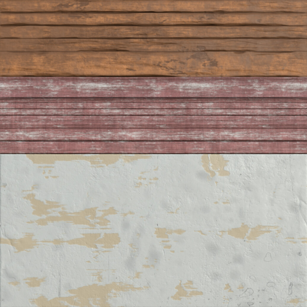 Trimsheet used for the wall wood planks, window, and wall plaster.