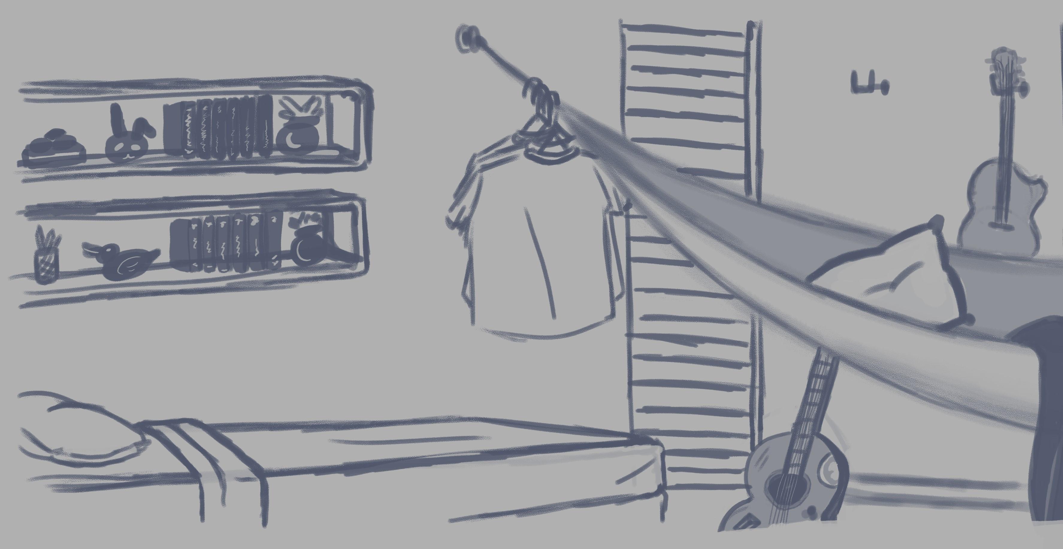 Rough sketch of bedroom.